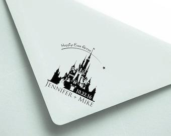 "Personalized Stamp: 2.5x2.5"" Disney Wedding, Wedding Date Stamp, Wedding Stamp, Custom wood stamp, rubber stamp, custom, Disney Engagement"