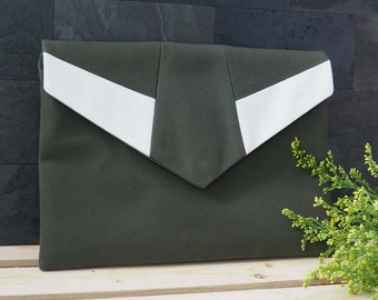 green white envelope clutch, multicolored, green purse, clutch purse, clutch bag, summer clutch, pouch, magnetic snap, de almeida designs