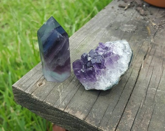 Fluorite point and amethyst cluster set