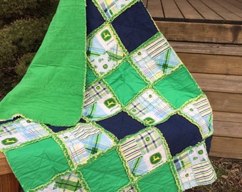 Baby Rag Quilt, In a John Deere design, with Green and Navy blue. Handmade Quilt! John Deere Nursery bedding! Great toddler bed or lap quilt