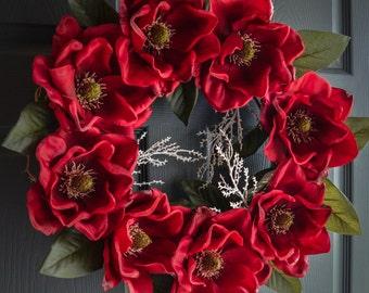 Christmas Decor | Magnolia Wreath | Holiday Wreath | Front Door Wreath | Magnolia Leaf | Magnolia Blossoms | Christmas Decor