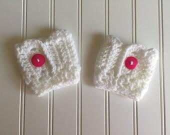 Little Girl Crochet Boot Cuffs- White