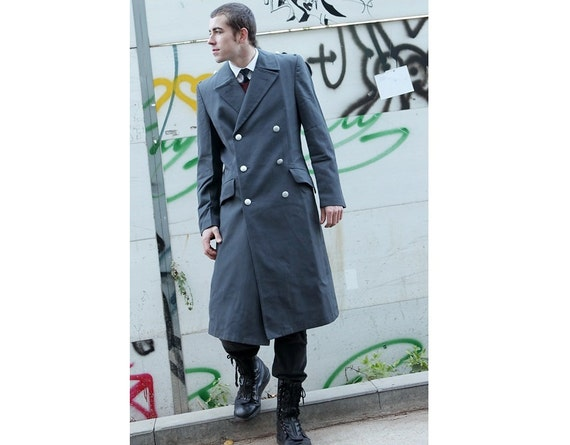 New 1990s Double breasted Grey German Army Trenchcoat