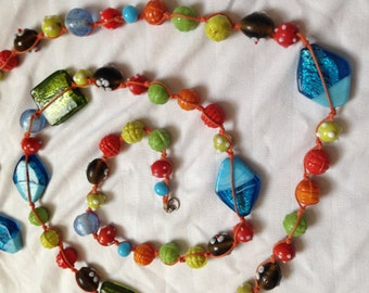 Glass Beads -- Green, Yellow, Blue, Aqua, Orange, Red -- large and small