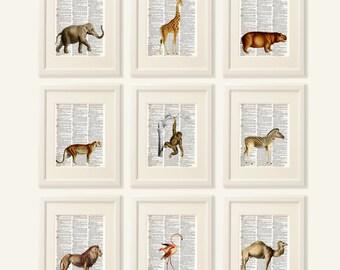 Nursery wall art, Nursery prints, ANIMALS Dictionary Art Print Set, Safari Art, jungle baby shower decorations, Nursery Wall Decor, #154