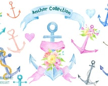 Watercolor clipart anchor collection, pastel color and rusty anchors, ribbons, flowers for instant download