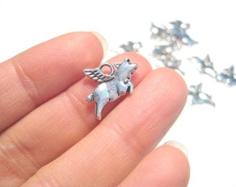 Antique Silver Small Flying Pig Charm Pendants Double Sided Animal charms Pendant