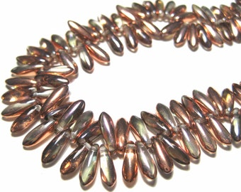 25pcs Clear With Half Coat Copper Czech Pressed Glass Beads 10x3mm top-drilled Dagger Glass Beads