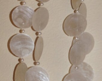 Capiz Seashell Strands with Pearls, Pack of 6 Strands
