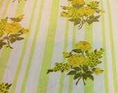 vintage floral pillowcase yellow an green 1960-1970s bedding