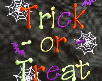 Embroidered Trick or Treat Halloween Tote Treat Bag ~ Available in 3 Colors