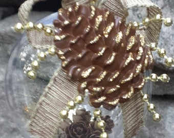 Rustic Christmas Ornament - Pine Cones (Gold Accent)