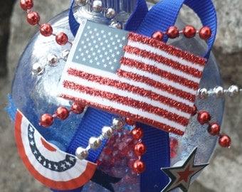 Patriotic Christmas Ornament - Flag, Bunting & Star - America (USA)