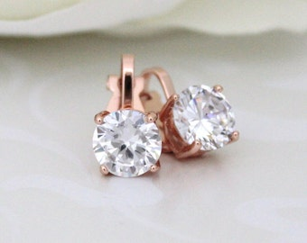Stud clip on earrings, Rose Gold stud earrings, Clip on earrings, Bridal earrings, Crystal stud earrings, Wedding earrings, Flower girl