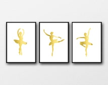 REAL GOLD FOIL, ballerina set, set of 3 prints, gold ballerina poster, gold ballet art, gold nursery prints, customise to copper or silver