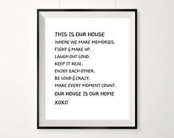This is our house, where we have memories, family prints, posters with quotes, inspirational quotes, xoxo, our house is our home