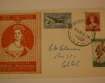 New Zealand- First Day Airmail Cover-100th Anniversary of Post Stamp=1955