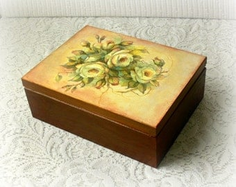Wooden tea box , wooden jewelry box , decoupage box , vintage style box , vintage roses ,