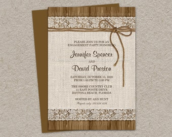 Rustic Engagement Party Invitation With Burlap And Lace On Brown Barn Wood | Diy Printable Invite