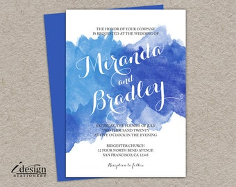 Blue Watercolor Wedding Invitation | DIY Printable Watercolour Invitations | Digital File