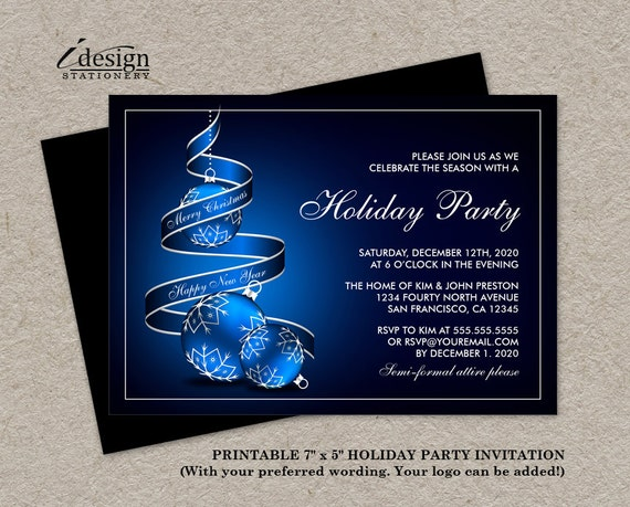 Elegant Holiday Party Invitations Printable Christmas