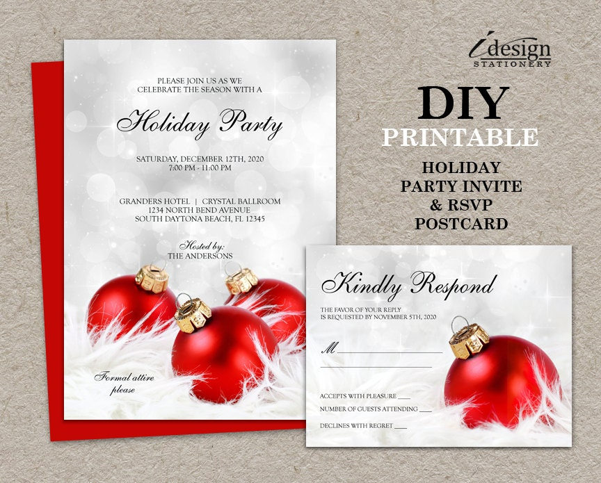 Holiday Party Invitations With Response Cards Diy Printable