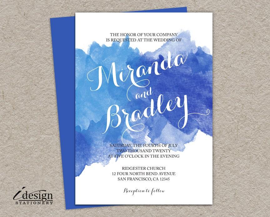 Blue Watercolor Wedding Invitation DIY Printable Watercolour