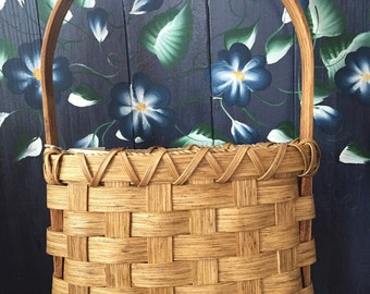 Handmade Basket, Primitive Basket, Wall Basket, Hanging Basket, Primitive Decor, Flower Basket, Made in USA