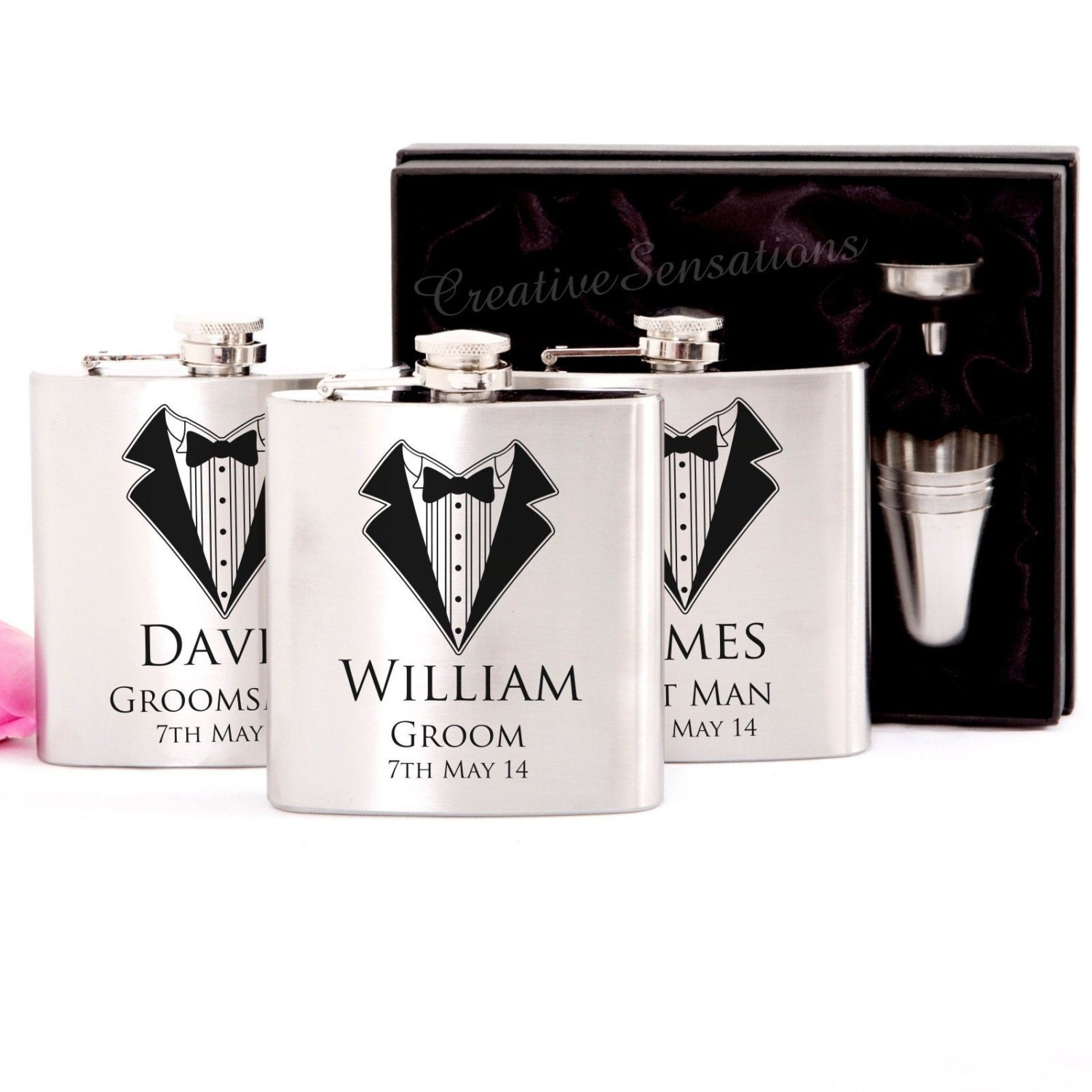 3x Engraved Stainless Hip Flask Gift Personalised Wedding