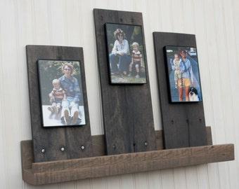 pallet wood picture frame. rustic picture frame display boards set of three 4x6 frames reclaimed pallet wood planks wall décor shelf leaners mantle art