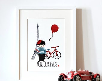 decorative art print for kids  - Travel- Paris