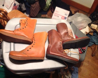 Vintage deadstock earth shoes boots hippy retro Anne kalso negitive  heel 1970's new women's 5 5.5