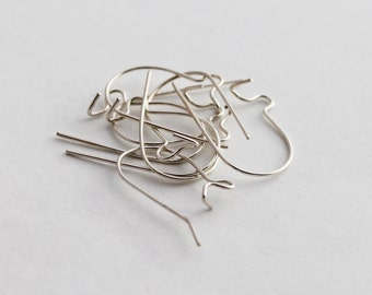 sterling silver kidney shaped ear wires, 8 pieces, 4 pairs, 15mm