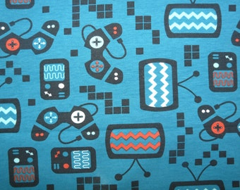Fabric - gaming computer print cotton jersey- petrol blue