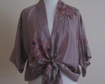 Vintage 70's Purple Floral Silk Tie Waist Kimono Blouse One Size Fits Most