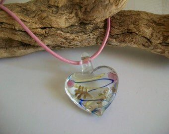 Valentine's Necklace Jewelry, Valentine's Chunky Pink Blue Art Glass Heart Pendant Necklace with Leather Cord, Heart Valentine Present Gift