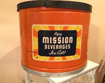 Vintage Mission Beverages Soda Pop Cooler.  Kool Aire MetaI Dispenser / Crock Insert Rare.