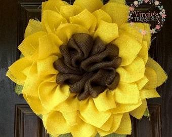 Shabby Chic Sunflower Burlap Wreath-Sunflower Wreath