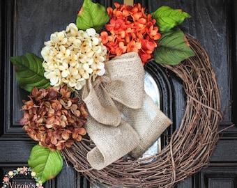 Hydrangea Wreath-Fall Hydrangea Wreath-Front Door Wreath-Grapevine Wreath-Everyday Wreath-Housewarming-Mothers Day Gift