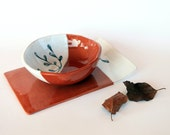 dinnerware set terracotta ceramic, set of 4, soup bowl and dish