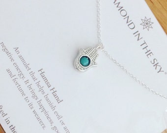 Hamsa meaning etsy hamsa hand and turquoise bead necklace on gift card mozeypictures Image collections
