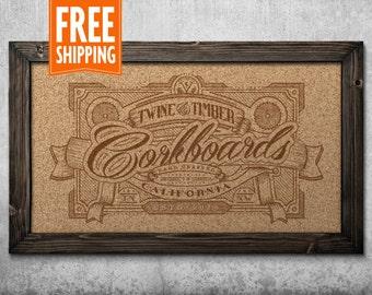 Standard Rustic Framed Corkboard - Dark Walnut