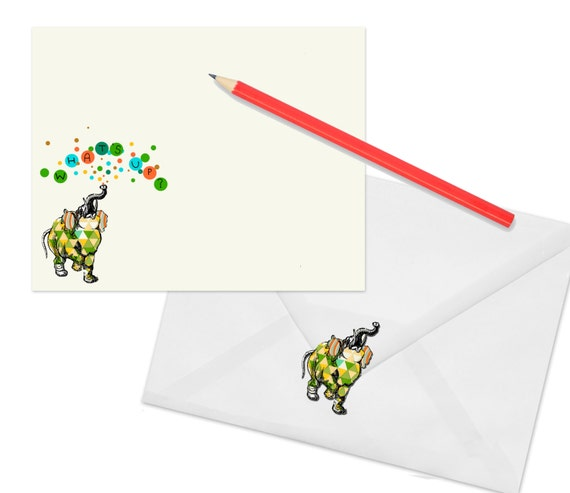 Elephant Stationery Set With Matching Stickers