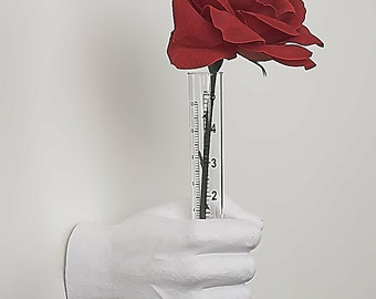 """Interior Illusions Plus - White Flower Vase - Wall Mount - Sculpture - Display Jewelry, Rings, Bracelets, Accessories - Art - 7"""" long"""