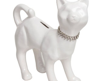"""White Ceramic Cat bank With Crystal Princess Necklace  Home Decor, Desk Top, Royalty, Cat Bank, Handcrafted. 10"""" tall."""