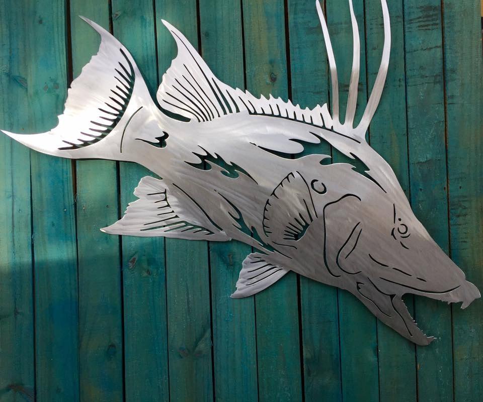 salt life hog fish metal fish art wall art fish mount sculpture nautical beach house decor ocean art fish wall art