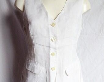 Top / Top / tank top, white, how bartender vest, Sun by Dorothée Bis, T 38 / 40.
