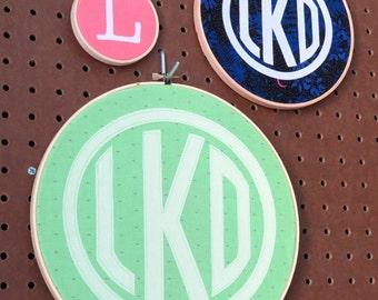 Custom Monogram hoop art
