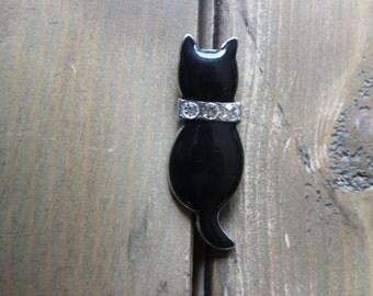 Vintage 90s Black Enamel Rhinestone Cat Brooch