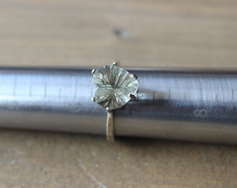 Vintage Silver Large Solitaire Heart Cut Stone Ring
